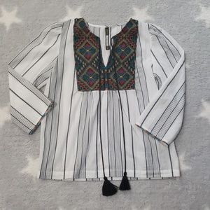 Plenty by Tracy Reese Striped Embroidered Top XS
